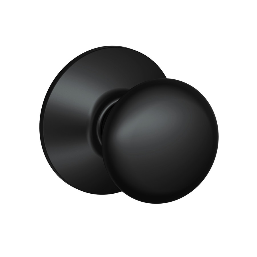 Shop Schlage F Plymouth Matte Black Passage Door Knob At