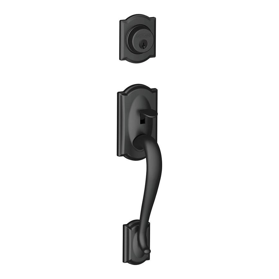 Shop Schlage Camelot Adjustable Matte Black Entry Door Exterior ...