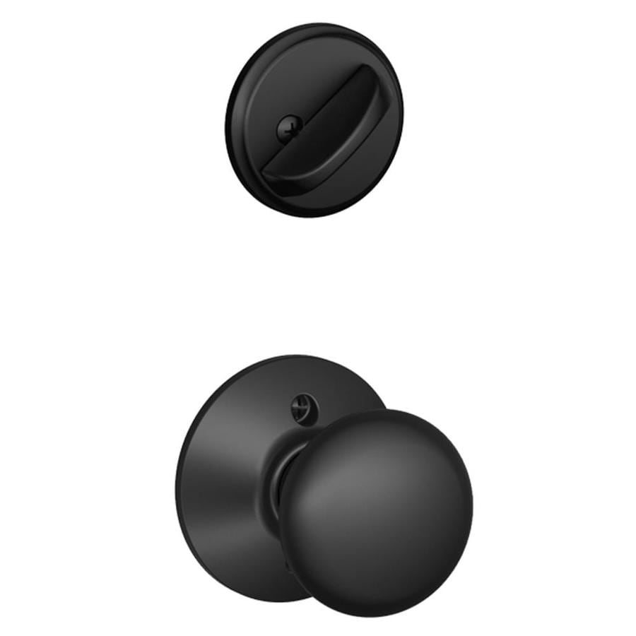Schlage Plymouth 1-5/8-in to 1-3/4-in Matte Black Single Cylinder Knob Entry Door Interior Handle