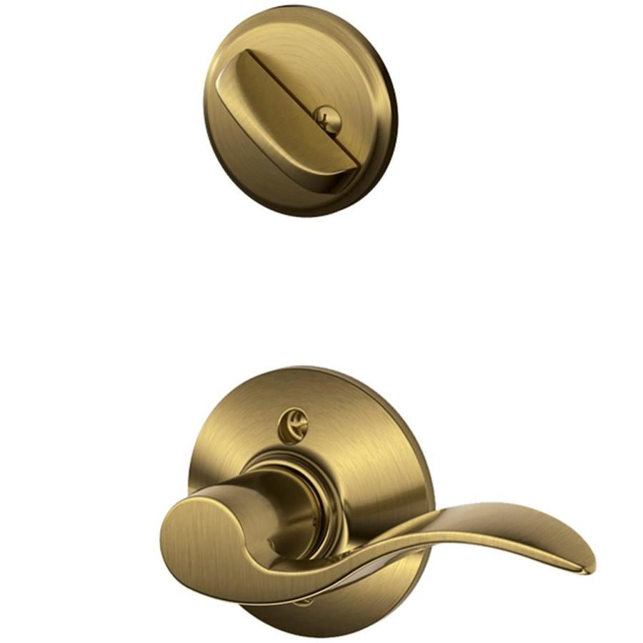 Schlage Accent 1-5/8-in to 1-3/4-in Antique Brass Single Cylinder Lever Entry Door Interior Handle