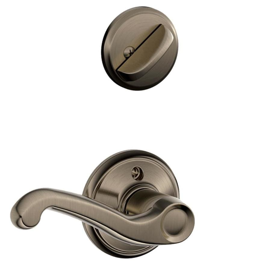 Schlage Flair 1-5/8-in to 1-3/4-in Antique Pewter Single Cylinder Lever Entry Door Interior Handle