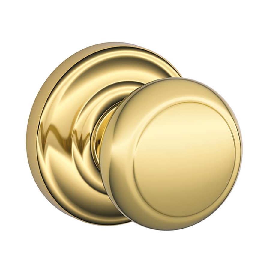 Schlage Andover Lifetime Bright Brass Round Passage Door Knob