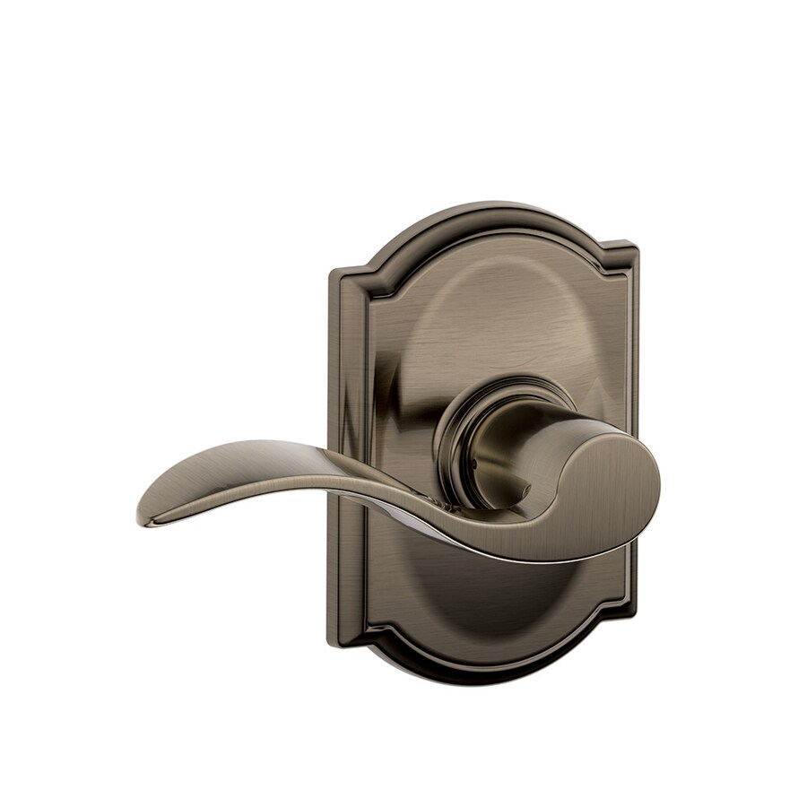 Schlage F Decorative Camelot Collections Accent Antique Pewter Universal Passage Door Lever