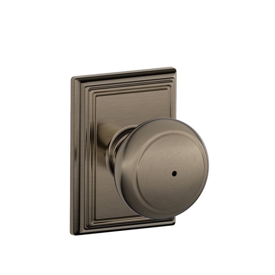 Schlage F Decorative Addison Collections Andover Antique Pewter Round Push-Button Lock Privacy Door Knob
