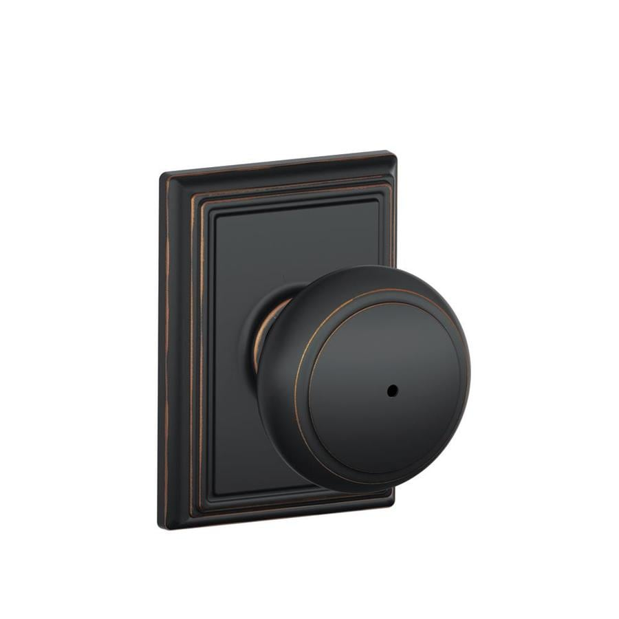 Schlage F Decorative Addison Collections Andover Aged Bronze Round Push-Button Lock Privacy Door Knob