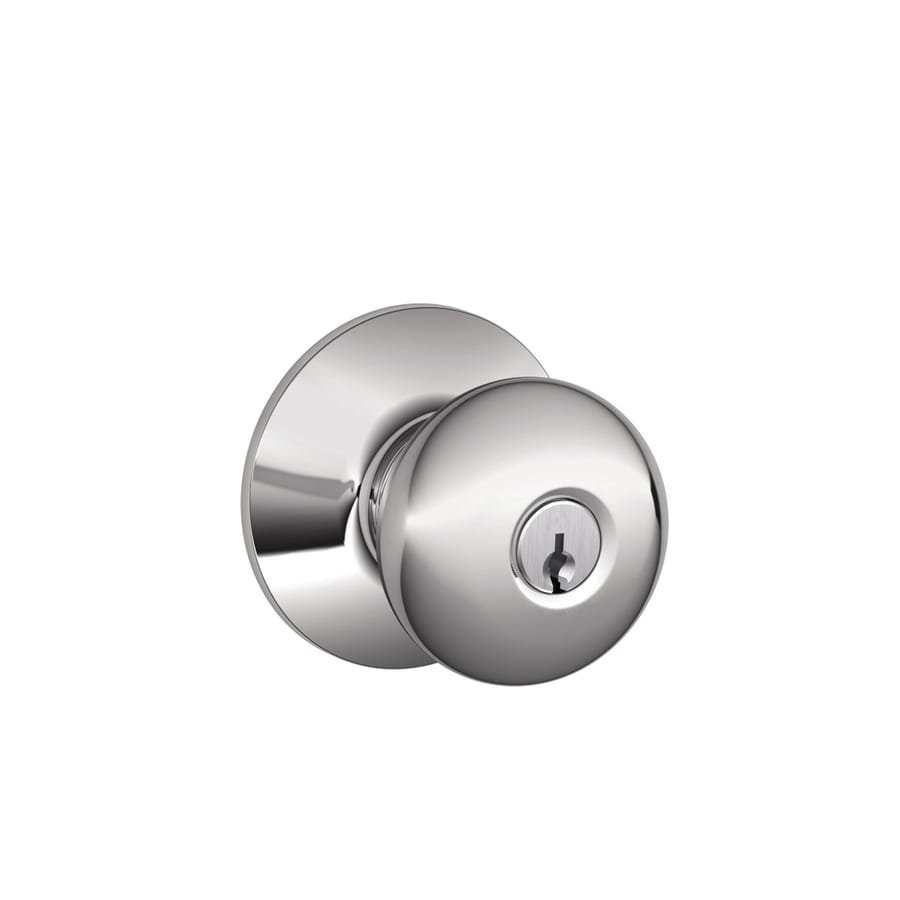 Schlage F Plymouth Bright Chrome Round Keyed Entry Door Knob