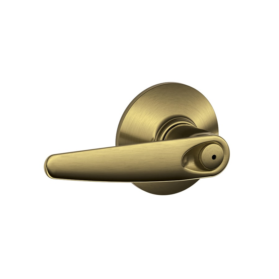 Schlage Jazz Antique Brass Push-Button Lock Privacy Door Lever