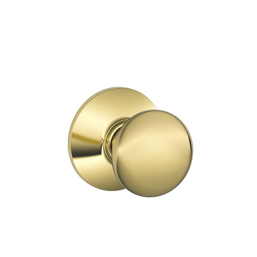 Schlage Plymouth Bright Brass Round Passage Door Knob