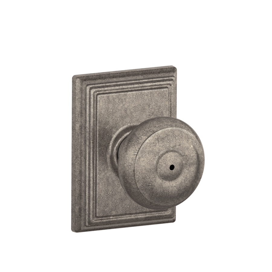 Schlage F Decorative Addison Collections Georgian Distressed Nickel Round Push Button-Lock Privacy Door Knob