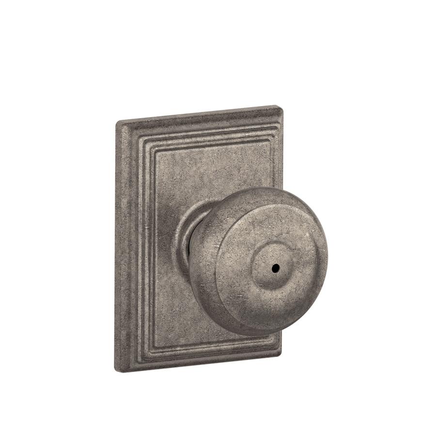 shop schlage f decorative addison collections georgian distressed nickel round push button lock. Black Bedroom Furniture Sets. Home Design Ideas