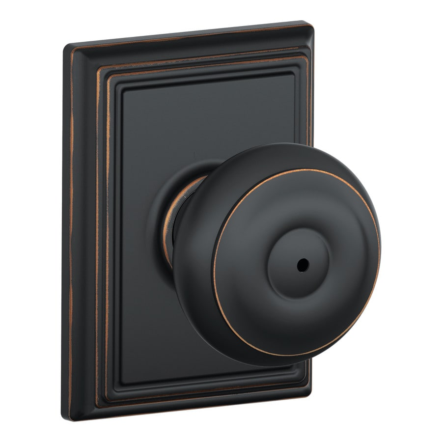 Schlage F Decorative Addison Collections Georgian Aged Bronze Round Push-Button Lock Privacy Door Knob