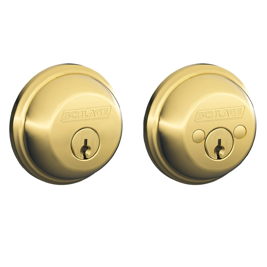 Schlage B Bright Brass Double-Cylinder Deadbolt