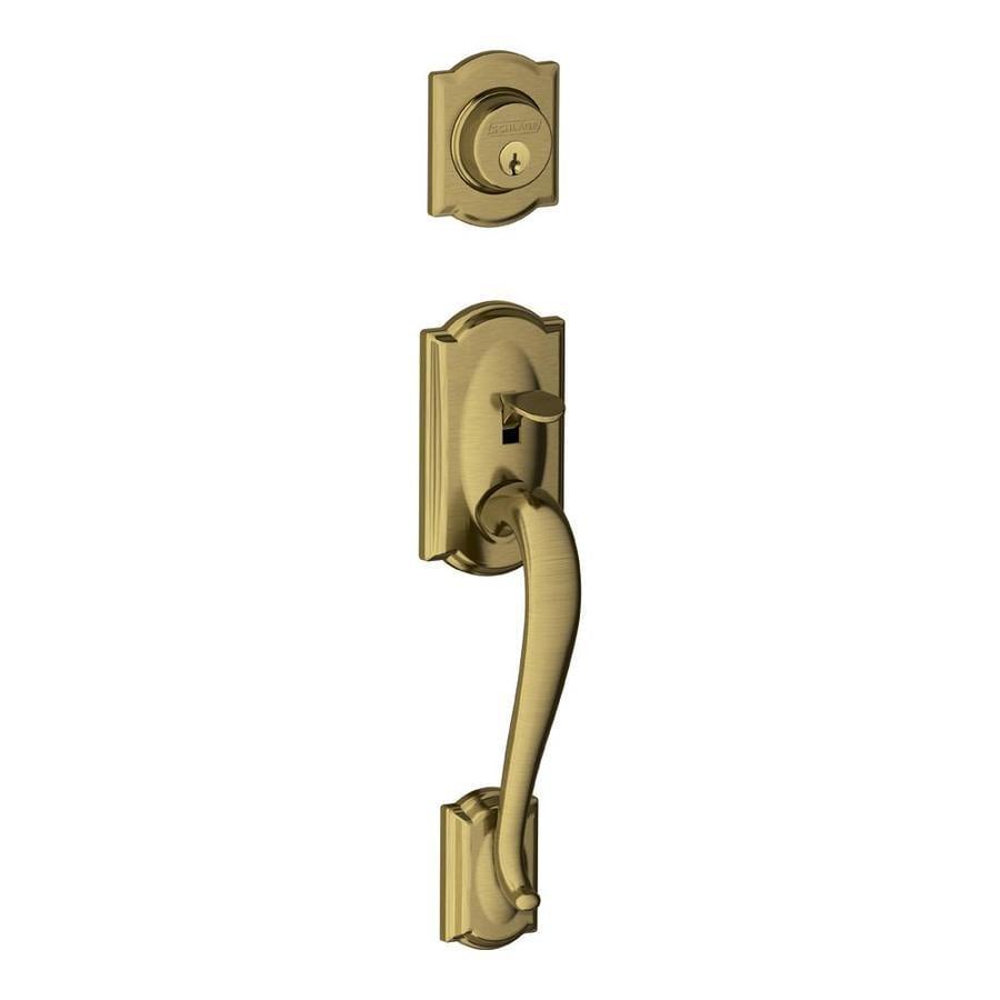Schlage Camelot Adjustable Antique Brass Entry Door Exterior Handle