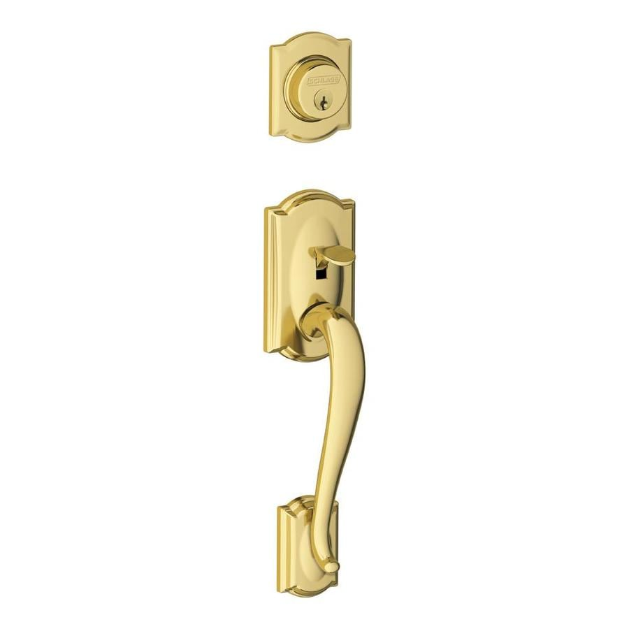 Shop schlage f camelot bright brass single cylinder deadbolt entry door exterior handle at for Exterior door handle and lock set