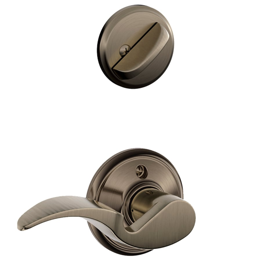 Schlage Avanti 1-5/8-in to 1-3/4-in Antique Pewter Single Cylinder Lever Entry Door Interior Handle