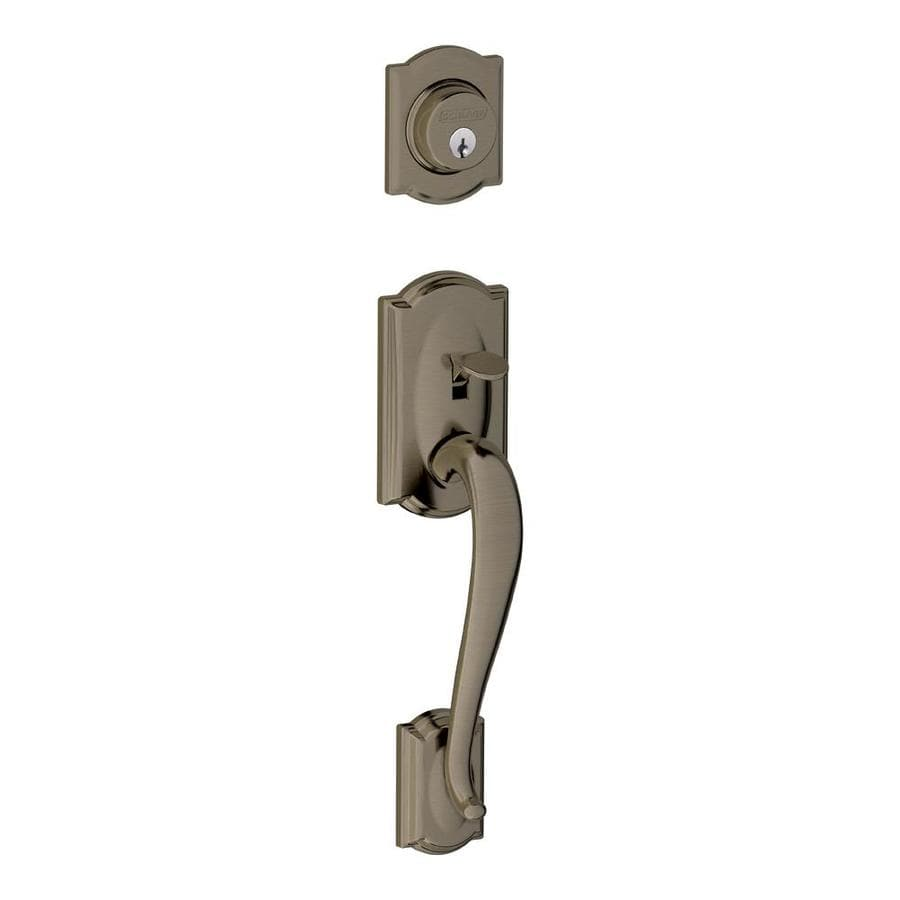 Shop Schlage Camelot Antique Pewter Entry Door Exterior Handle At