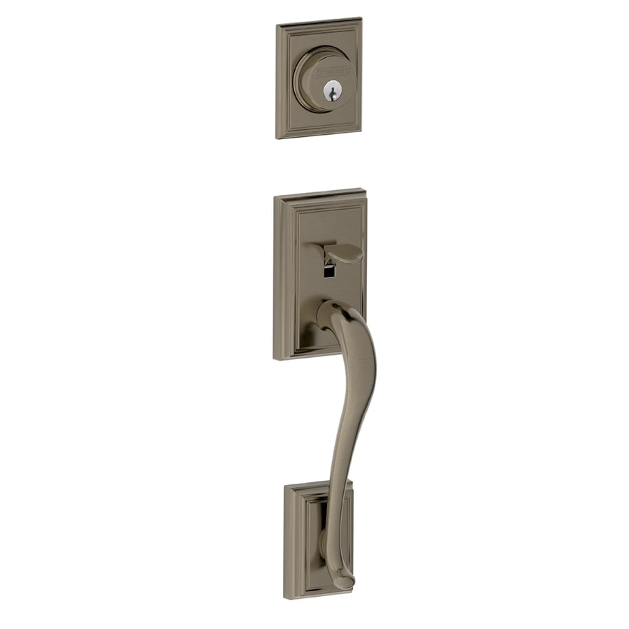 schlage addison antique pewter entry door exterior handle at