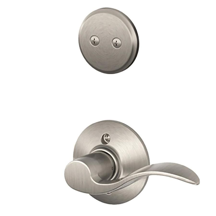 Shop Schlage Accent 1 5 8 In To 1 3 4 In Satin Nickel Non Keyed Lever Entry Door Interior Handle