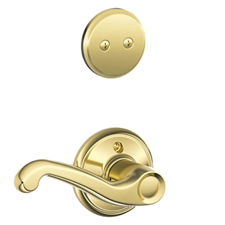 Schlage Flair 1-5/8-in to 1-3/4-in Bright Brass Non-Keyed Lever Entry Door Interior Handle