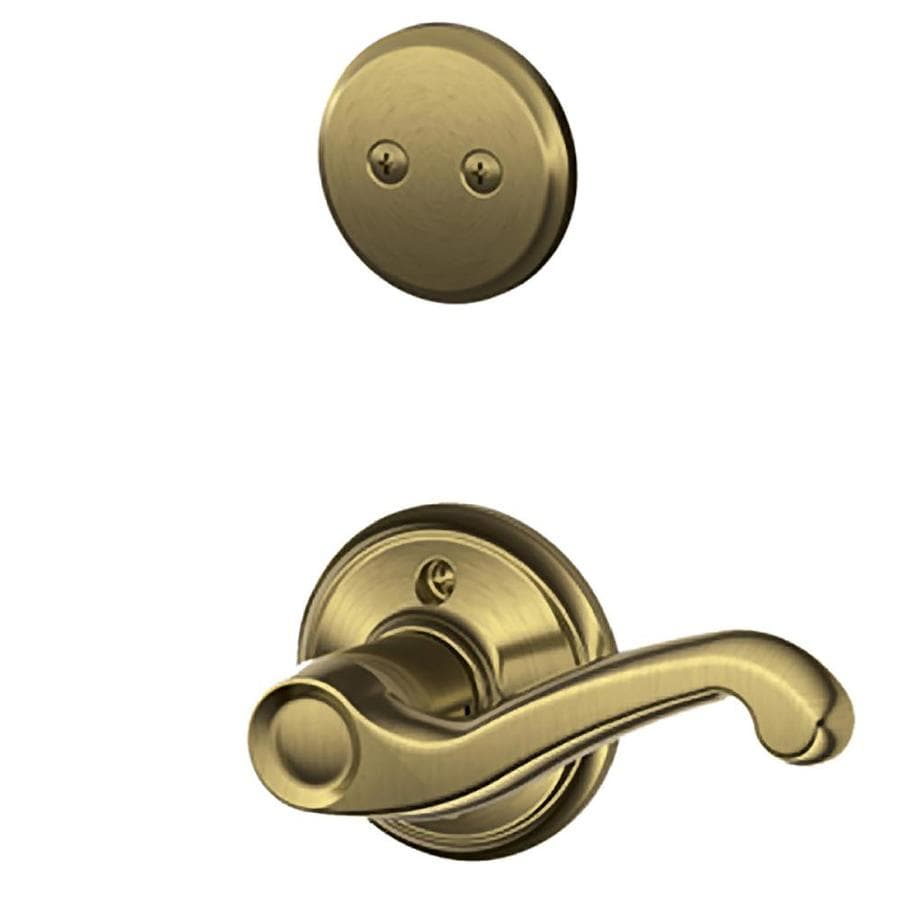 Schlage Flair 1-5/8-in to 1-3/4-in Antique Brass Non-Keyed Lever Entry Door Interior Handle