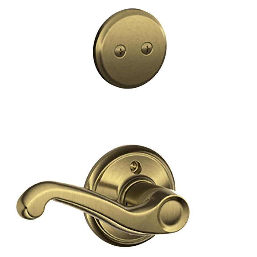 Shop Schlage Flair 1 5 8 In To 1 3 4 In Antique Brass Non
