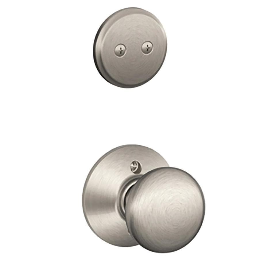 Schlage Plymouth 1-5/8-in to 1-3/4-in Satin Nickel Non-Keyed Knob Entry Door Interior Handle