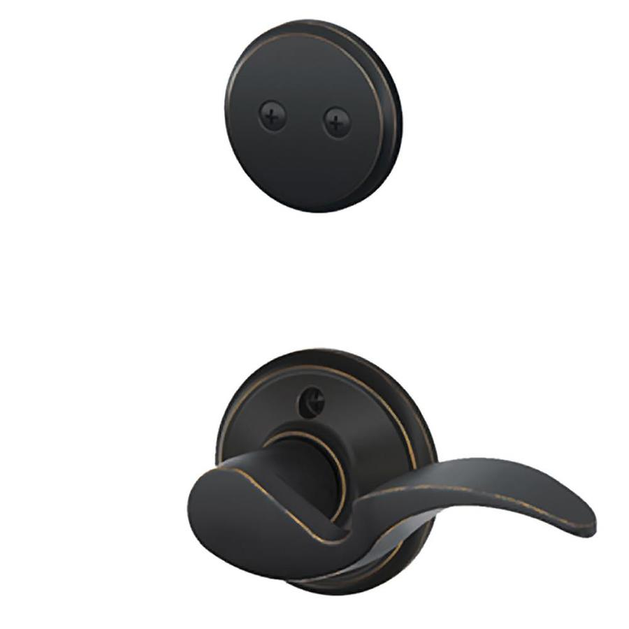 Schlage Avanti 1-5/8-in to 1-3/4-in Aged Bronze Non-Keyed Lever Entry Door Interior Handle