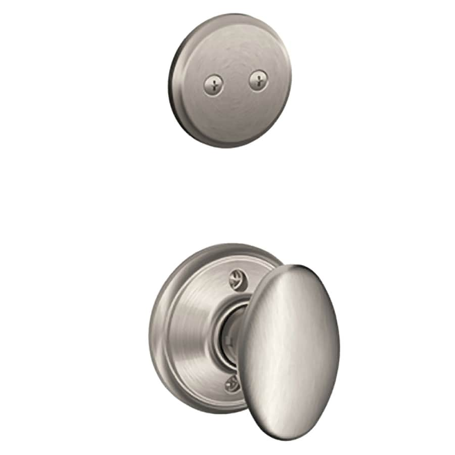 Schlage Siena 1-5/8-in to 1-3/4-in Satin Nickel Non-Keyed Knob Entry Door Interior Handle