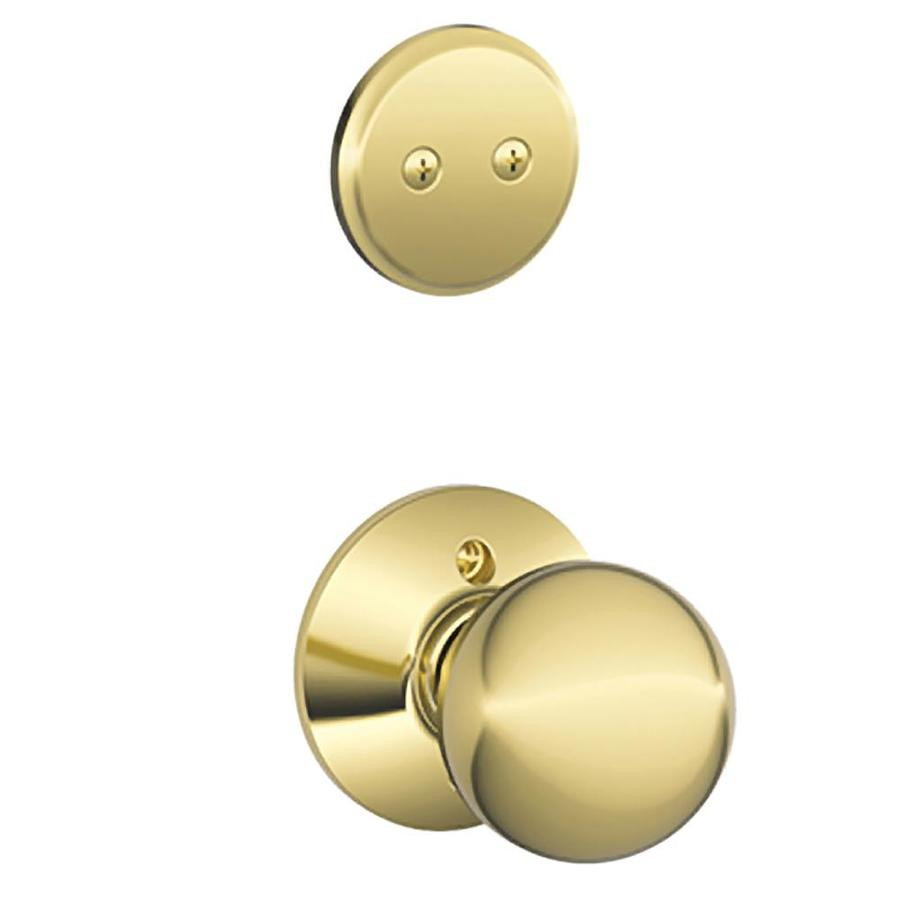 Schlage Orbit 1-5/8-in to 1-3/4-in Bright Brass Non-Keyed Knob Entry Door Interior Handle