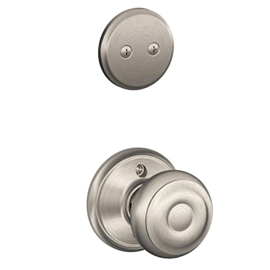 Schlage Georgian 1-5/8-in to 1-3/4-in Satin Nickel Non-Keyed Knob Entry Door Interior Handle
