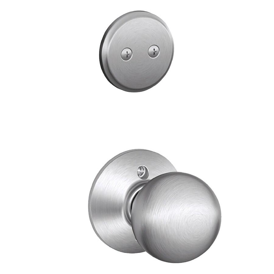Schlage Orbit 1-5/8-in to 1-3/4-in Satin Chrome Non-Keyed Knob Entry Door Interior Handle