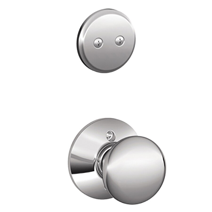 Schlage Plymouth 1-5/8-in to 1-3/4-in Bright Chrome Non-Keyed Knob Entry Door Interior Handle
