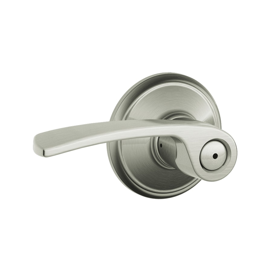 Schlage Privacy Merano Satin Nickel Universal Push-Button Lock Privacy Door Lever