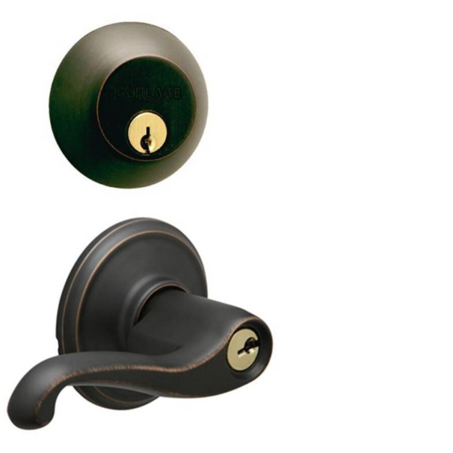 Schlage Flair Aged Bronze Single-Lock Keyed Entry Door Handleset