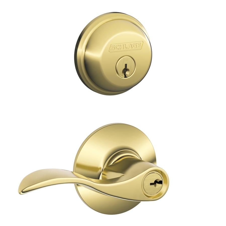Schlage fb50 accent bright brass single cylinder deadbolt - Exterior door handles and deadbolts ...