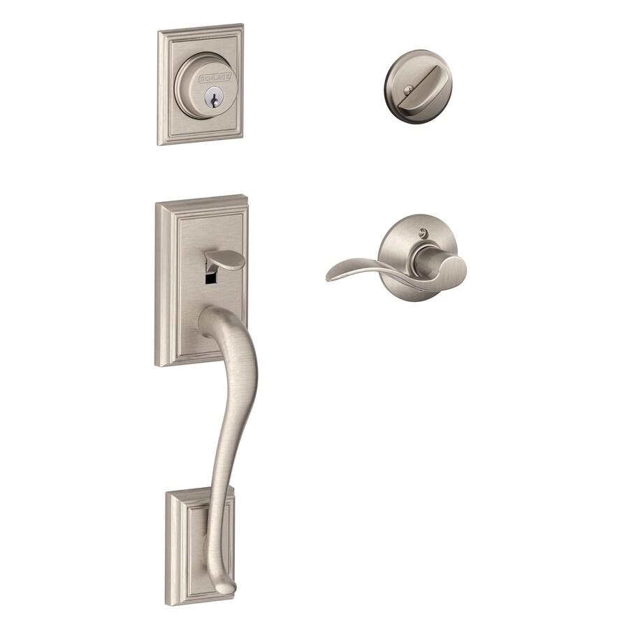 Schlage F60 Addison Accent Traditional Satin Nickel Single-Lock Keyed Entry Door Handleset