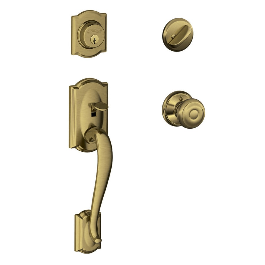 Schlage F60 Camelot Georgian Traditional Antique Brass Single-Lock Keyed Entry Door Handleset