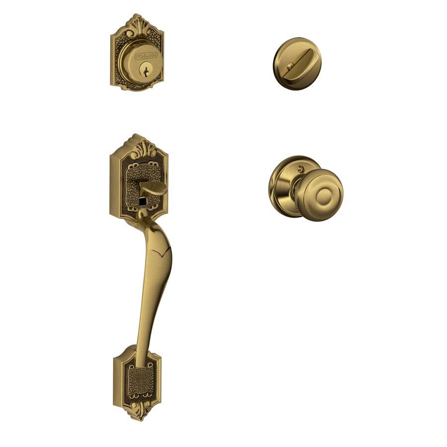 Schlage F60 Parthenon Georgian Traditional Antique Brass Single-Lock Keyed Entry Door Handleset