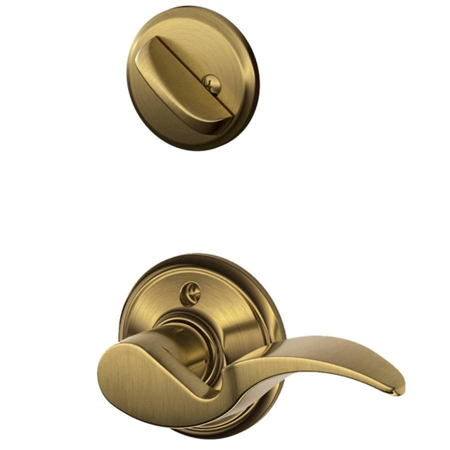 Schlage Avanti 1 5 8 In To 1 3 4 In Antique Brass Single Cylinder Lever Entry Door Interior
