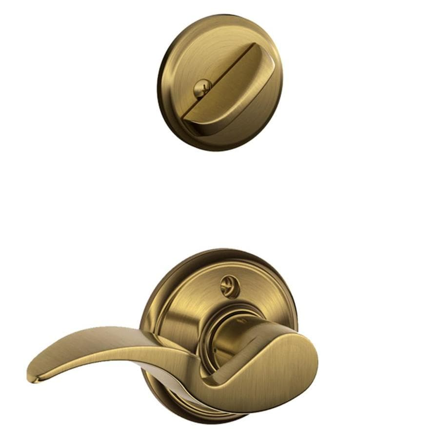 Schlage Avanti 1-5/8-in to 1-3/4-in Antique Brass Single Cylinder Lever Entry Door Interior Handle