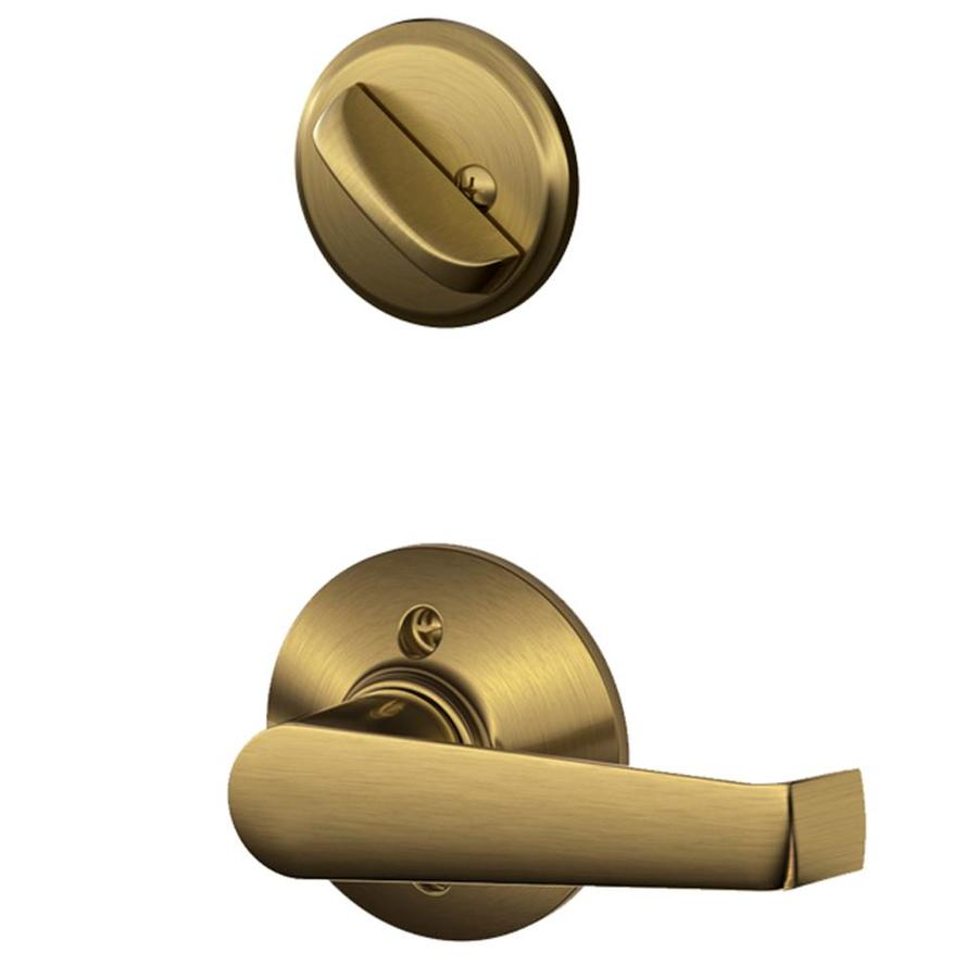 Shop Schlage Elan 1 5 8 In To 1 3 4 In Antique Brass Single Cylinder Lever Entry Door Interior