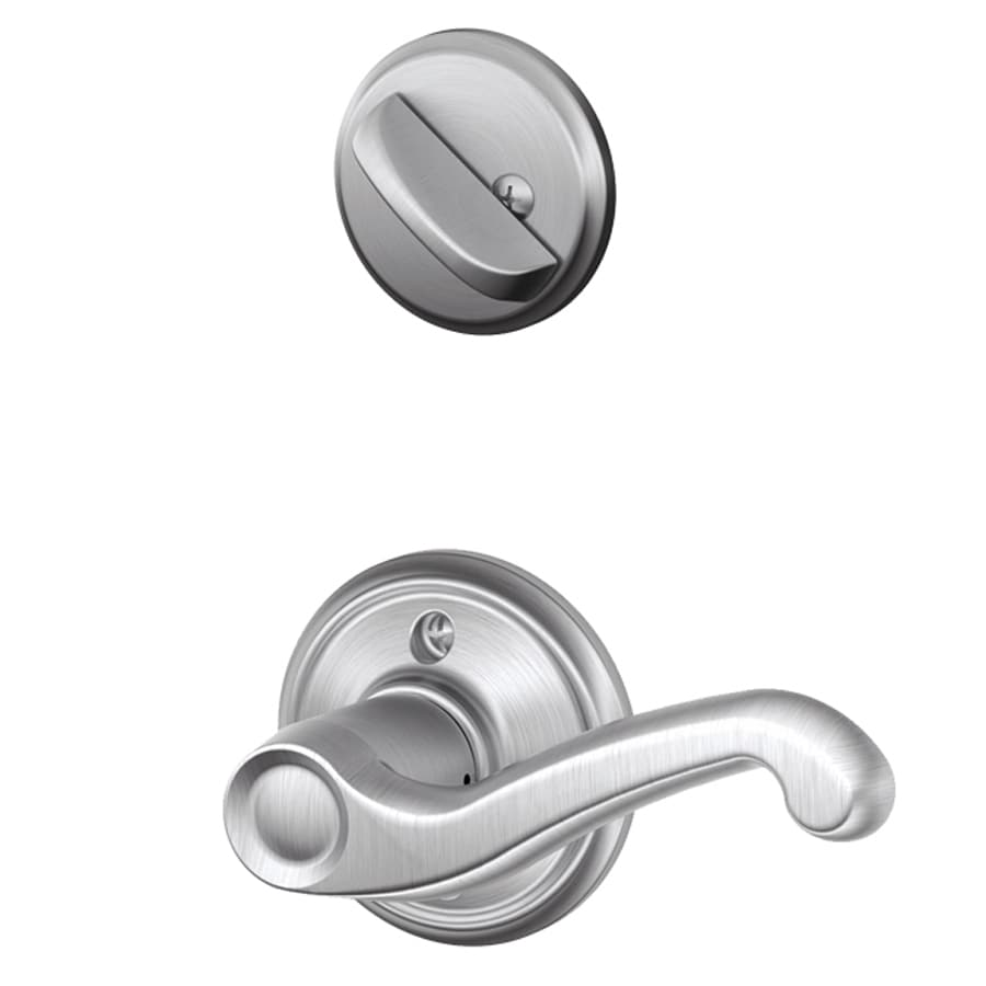 Schlage Flair 1-5/8-in to 1-3/4-in Satin Chrome Single Cylinder Lever Entry Door Interior Handle
