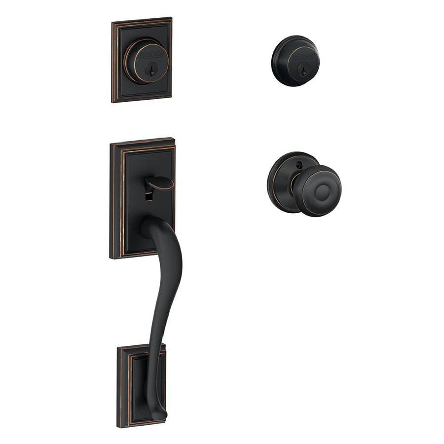 Schlage F Addison x Georgian Knob Aged Bronze Dual-Lock Keyed Entry Door Handleset