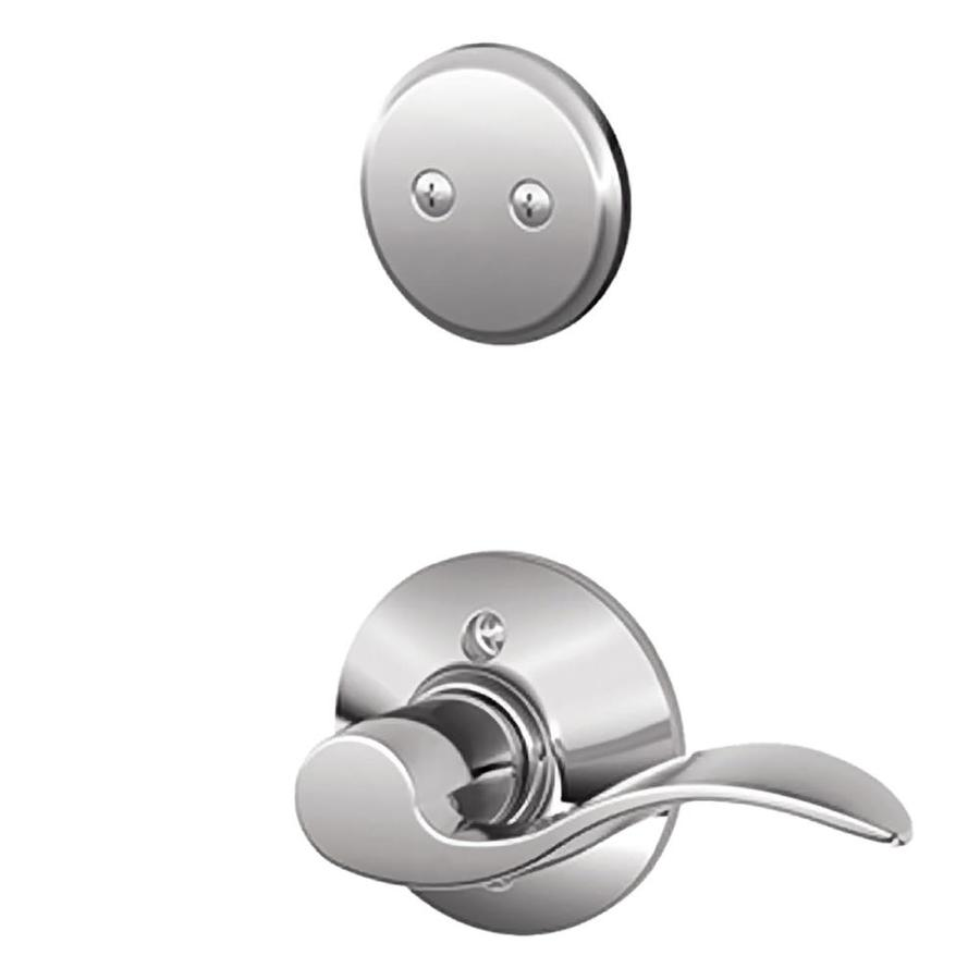 Schlage Accent 1-5/8-in to 1-3/4-in Bright Chrome Non-Keyed Lever Entry Door Interior Handle