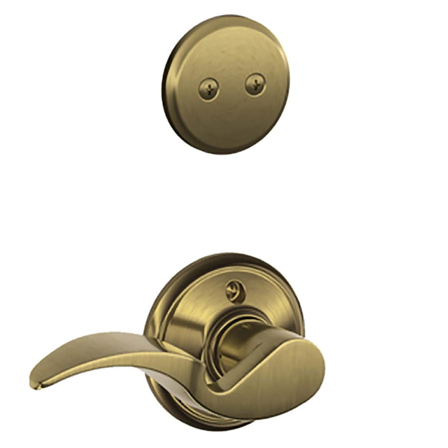 Schlage Avanti 1-5/8-in to 1-3/4-in Antique Brass Non-Keyed Lever Entry Door Interior Handle