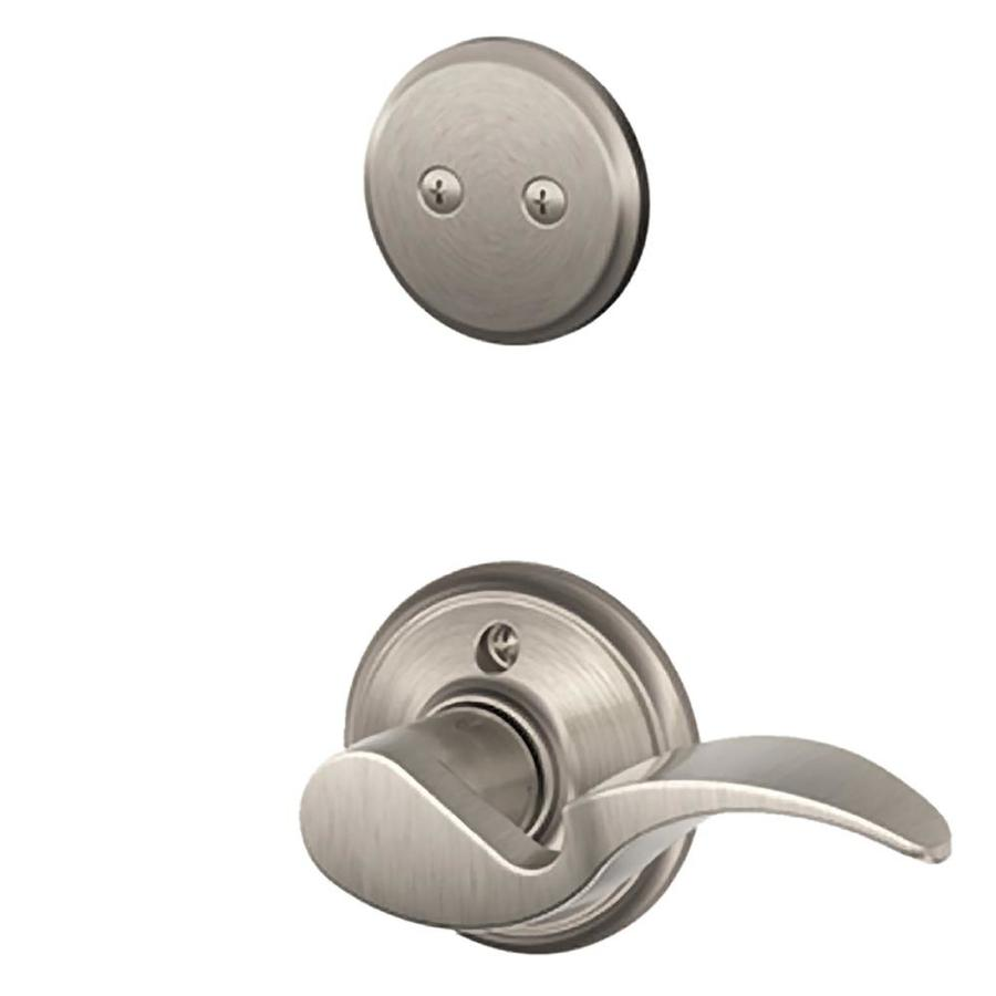 Schlage Avanti 1-5/8-in to 1-3/4-in Satin Nickel Non-Keyed Lever Entry Door Interior Handle