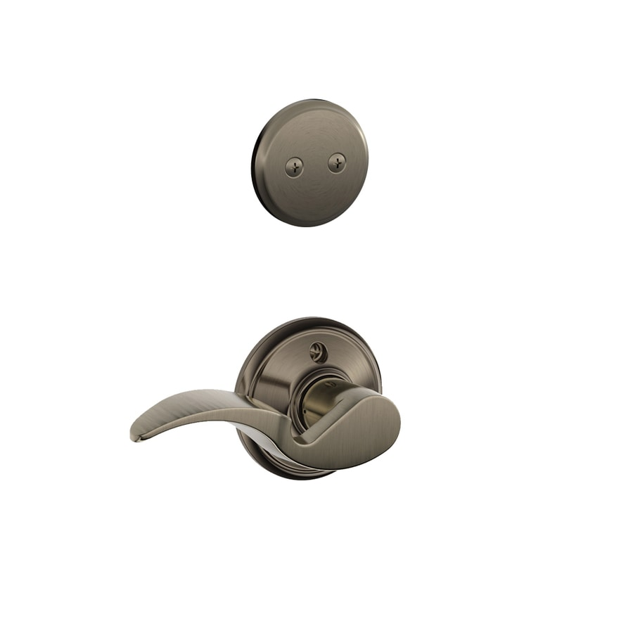 Schlage Avanti 1-5/8-in to 1-3/4-in Antique Pewter Non-Keyed Lever Entry Door Interior Handle