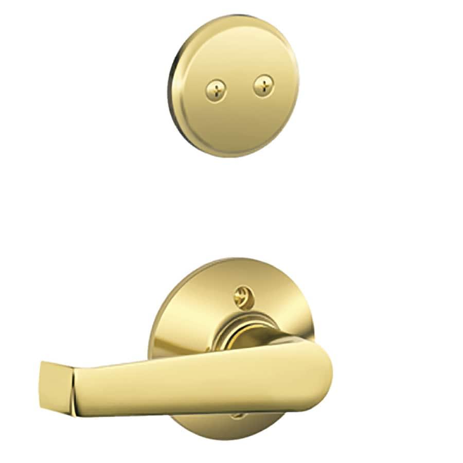Schlage Elan 1-5/8-in to 1-3/4-in Bright Brass Non-Keyed Lever Entry Door Interior Handle