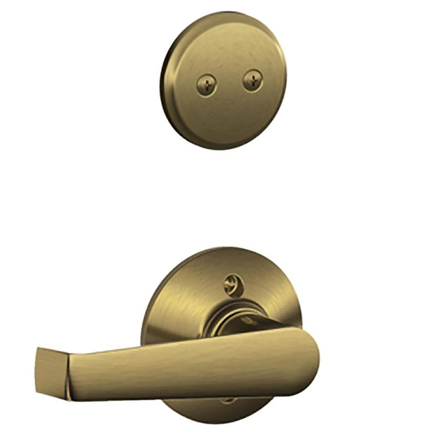 Schlage Elan 1-5/8-in to 1-3/4-in Antique Brass Non-Keyed Lever Entry Door Interior Handle