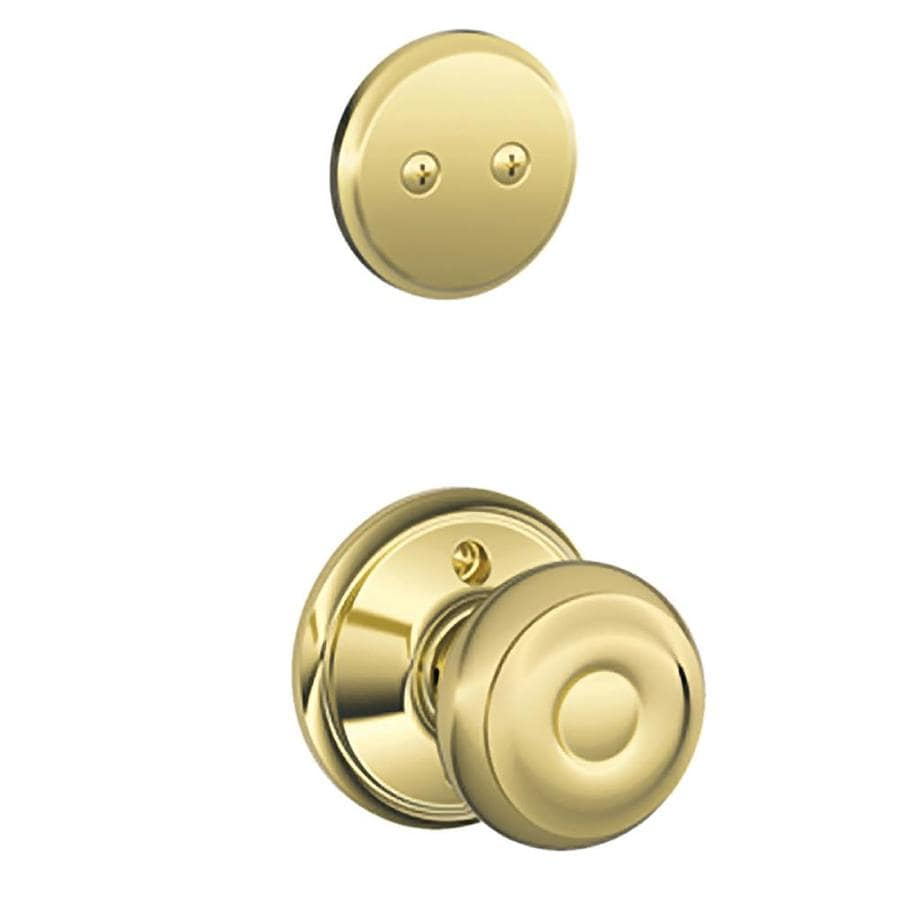 Schlage Georgian 1-5/8-in to 1-3/4-in Bright Brass Non-Keyed Knob Entry Door Interior Handle